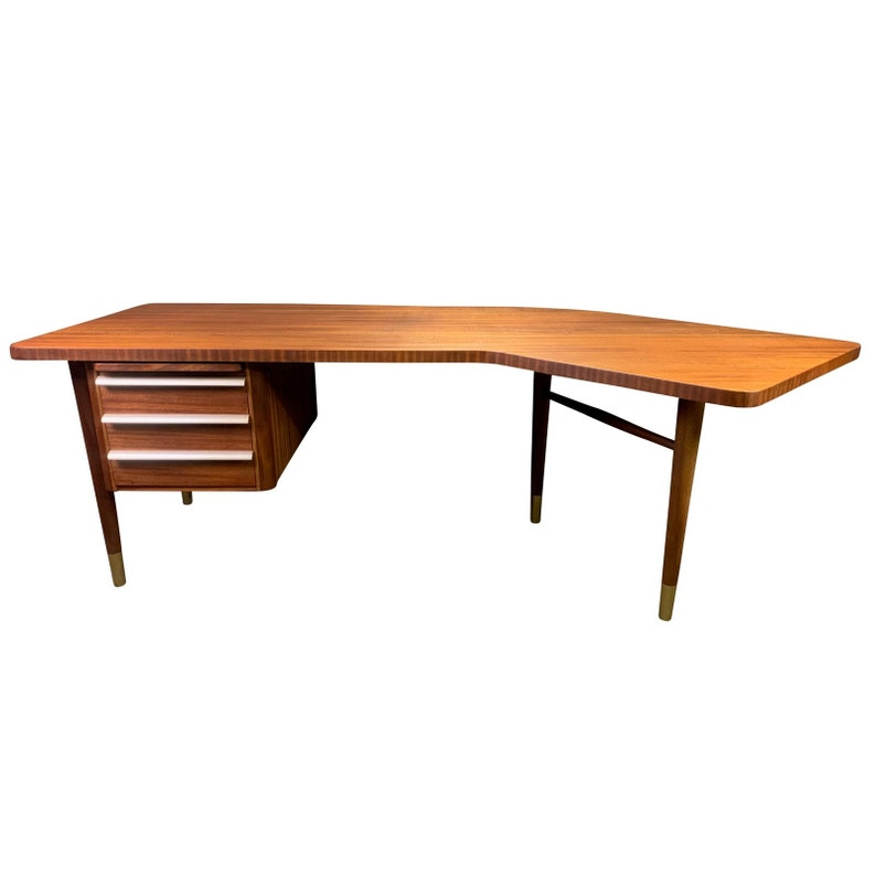 96adf26dd2027 Vintage Mid Century Modern Teak Boomerang Executive Desk
