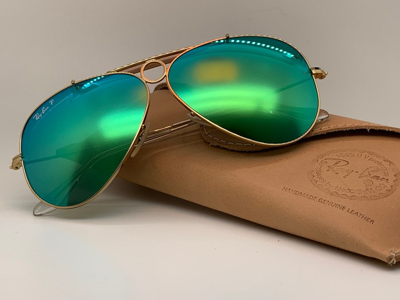 b597b987c6 New Ray-Ban Shooter RB3138 Gold Frame Green Polarized Mirror