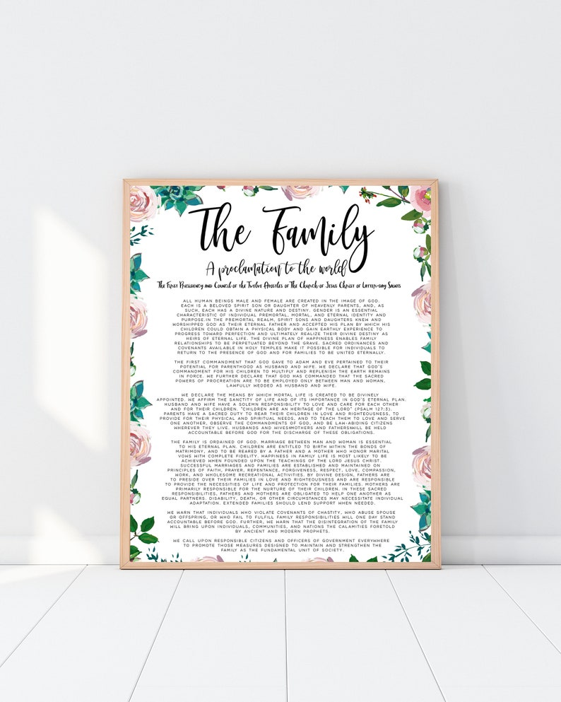 photo relating to The Family a Proclamation to the World Free Printable titled The Household A Proclamation in direction of the Planet LDS Printable Prompt Obtain Electronic Document Floral LDS Ornamental Print/mormon prints/lds church
