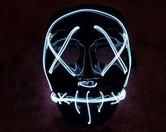 Purge Mask LED EL Wire Light Up Stitchface Blood Mask | Etsy