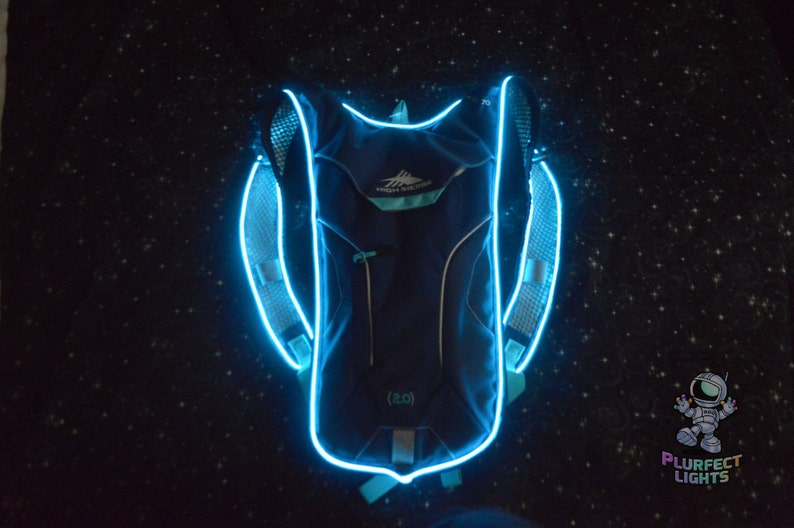 Light Up Neon Blue Glow Hydra-Pack Hydration Water Back Pack image 0