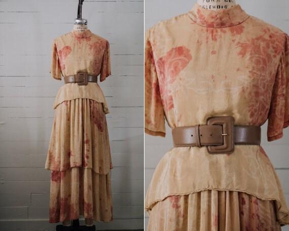 Ritu Kumar Tie Dye S/S Tiered Maxi Dress - Size S/