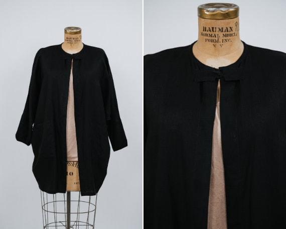 Vintage Black Linen Kimono Dolman Over Shirt - Siz