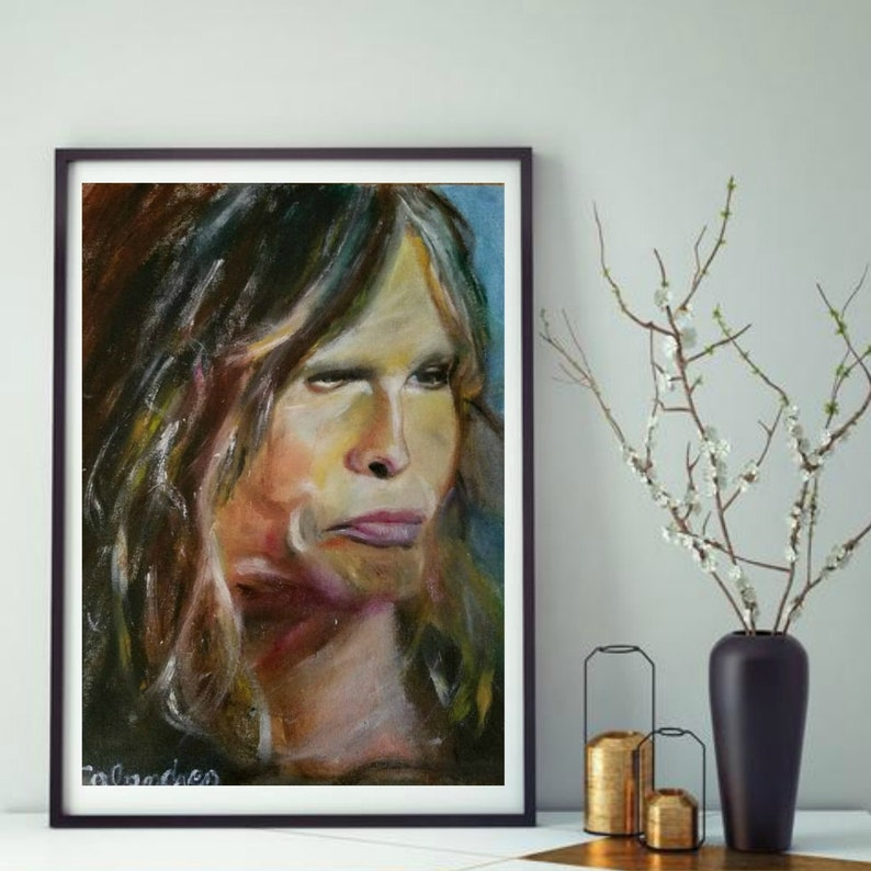 AMAZING AEROSMITH STEVEN TYLER POP ART CANVAS QUALITY ARTWORK WALL ART PICTURE