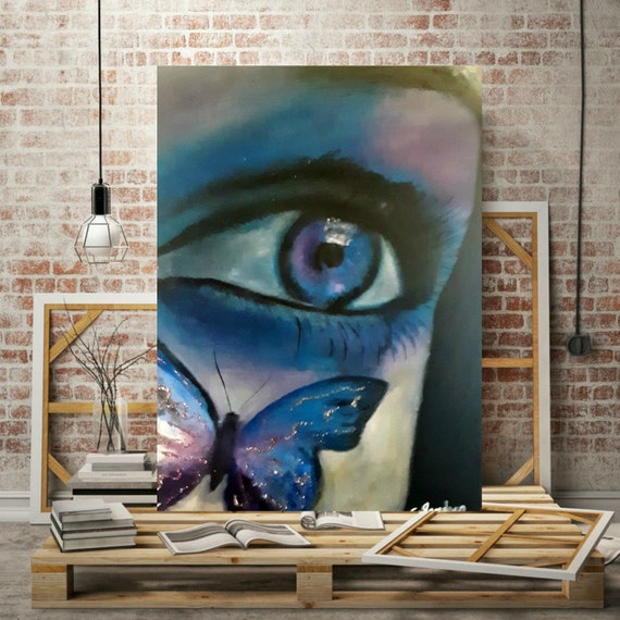Figurative Abstract Painting Face Painting Blue Eyes Unique Modern Art Blue Abstract Modern Art Canvas Oil Painting
