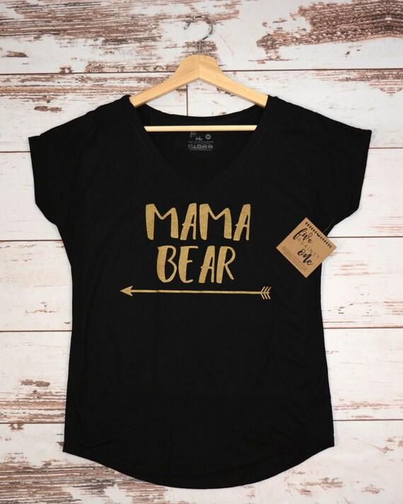 8230c048c Mama Bear Women's T-shirt with Aarows V-Neck T-shirt   Etsy