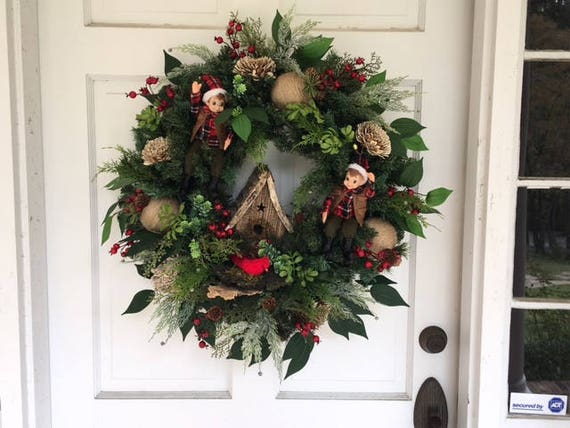 image 0 - Rustic Woodsy Christmas Holiday Elf Wreath Door Decor With Etsy
