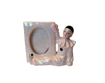 Vintage Ceramic Pierrot Clown Photo Frame
