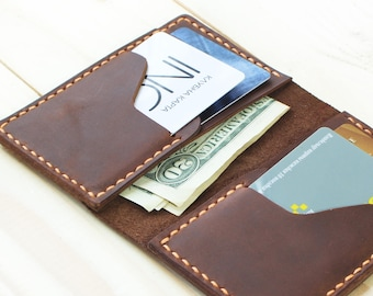Woman Wallet Minimalist Slim Wallet Credit Card Holder Brown Bifold Wallet Pocket Wallet Minimal Leather Wallet Personalized Leather Wallet