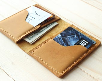 Woman Wallet Minimalist Slim Wallet Credit Card Holder Yellow Bifold Wallet Pocket Wallet Minimal Leather Wallet Personalized Leather Wallet