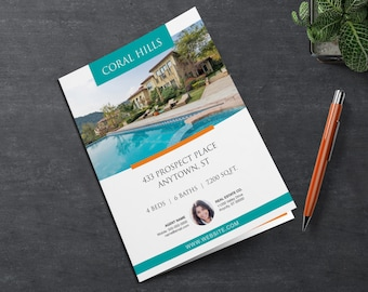 Real Estate Brochure Template   11 x 17   4 Page Multi Photo Flyer   Luxury Real Estate   Just Listed   Open House   Apple Pages   MS Word