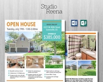 Real Estate Flyer Template - 2 Sided - Microsoft Word and Publisher