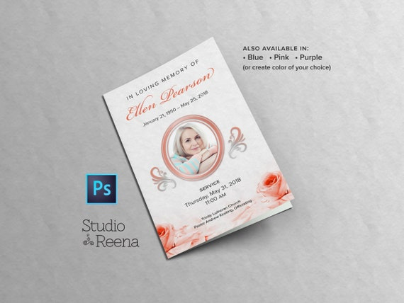 Rose Petals 85x11 Funeral Program Photoshop PSD Template