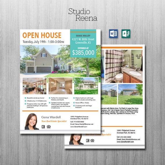 Real Estate Flyer Template 2 Sided Microsoft Word And