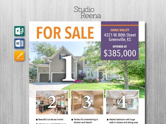 Immobilien-Verkauf Flyer Vorlage Microsoft Publisher Word   Etsy