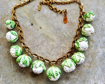 Vegetable jewelry. Cauliflowers cabbage white and green necklace. A good luck gift for her. Bride gift. Handmade ceramic. Unique piece