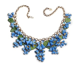 Flowers jewelry. Stunning Bluebell flower big necklace. Country wedding jewelry. Bride necklace.  Handmade ceramic. Unique piece.