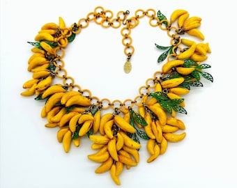 Fruit jewelry. Yellow banana fruit big necklace. Perfect tropical wedding gift. Birthday necklace. Handmade papier maché. Unique piece.