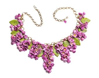 Flower jewelry. Statement purple Lilac flower big necklace.  Wedding jewelry.  Handmade ceramic. One of a kind.