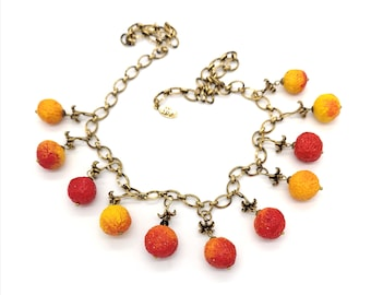 Forest jewelry.  Red&yellow Arbutus berry fruit charm necklace. Birthday gift. Handmade ceramic. Unique piece