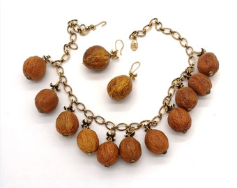 Forest Jewelry. Dangling set necklace & earrings Walnuts fruit. Handmade ceramic. Unique piece