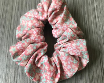 Pink & Mint Flower Floral Hair Scrunchie Hair Accessory