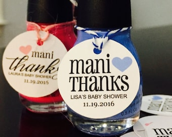 Nail Polish Tags, Mani Thanks, Thank You Tags, Favor Tags, Shower Tags, Baby Shower Tags, Bridal Shower Tags, Mani Tags, Set of 15