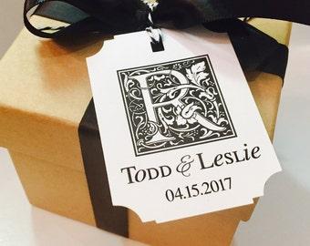 Wedding Favor Gift Tags, Wedding Favors, Monogram Gift Tags, Wedding Monogram, Favor Tags, Wedding Tags, Monogram Gift Tags, Set of 18