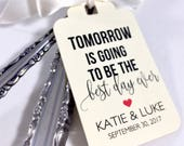 Best Day Ever, Wedding Rehearsal Dinner, Wedding Favors Tags, Silverware Tags, Wedding Tags, (Set of 12)