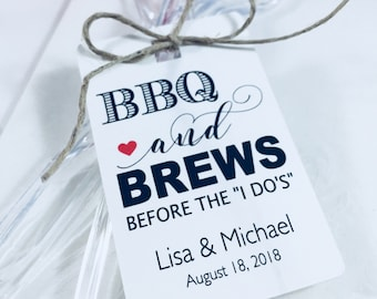 Party Favor Hang Tags, Wedding Favor Paper Tags, BBQ Rehearsal Dinner Tags, BBQ & Brews Before I Do's, Set of 12