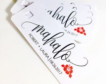 Mahalo Gift Tags, Destination Wedding Favors, Hawaiian Wedding, Tropical Wedding, Beach Wedding, Maui Wedding, Set of 15