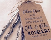 Thank You For Sharing Our First Meal Silverware Tags, Wedding Thank You Tags, Wedding Reception Table Decor (Set of 12)