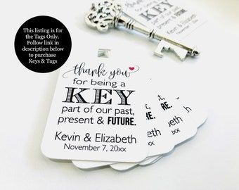Wedding Favor Tags, Antique Key Favor Tags, Key Bottle Opener Tags, Key Favor Tags, Wedding Tags, Antique Key Tags, (Set of 12-Tags Only)