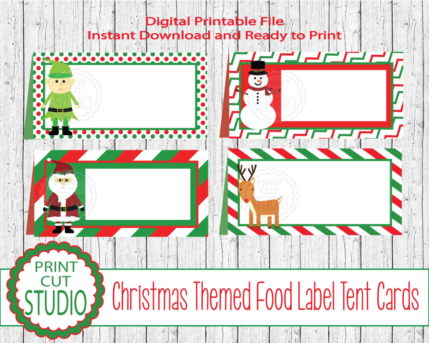 Christmas Seasonal Tent Style Food Table Labels Name Cards | Etsy