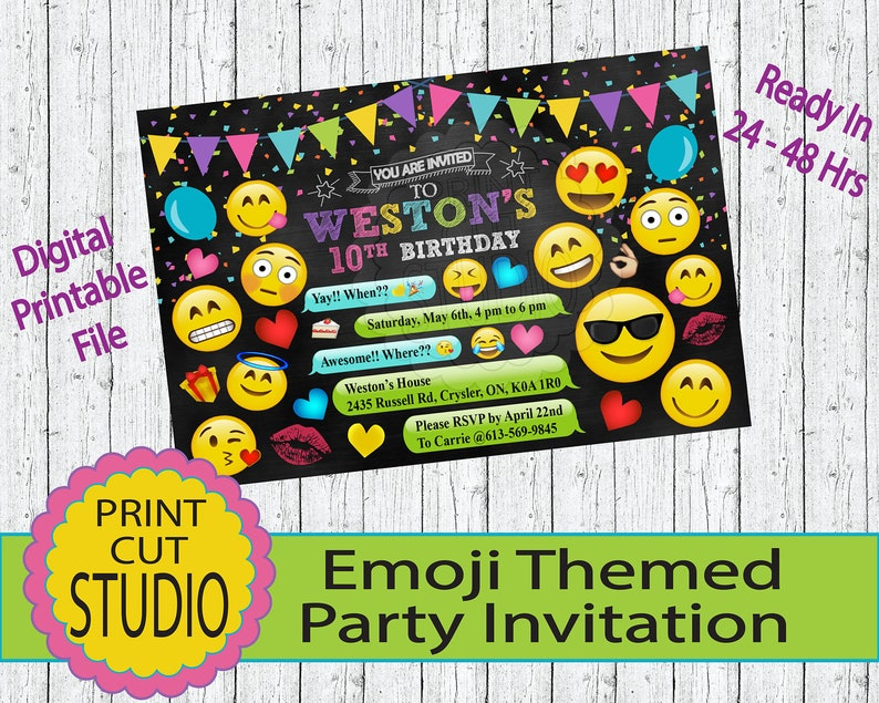Emoji Themed Chalkboard Party Invitation Personalized
