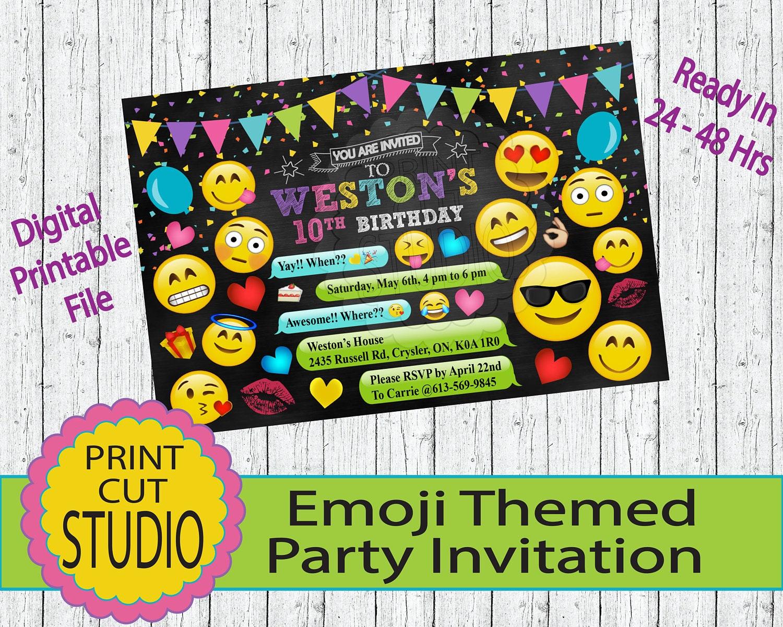 Emoji Themed Chalkboard Party Invitation Personalized