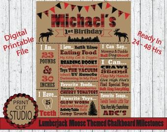 Lumberjack Moose Themed Chalkboard Milestones Personalized Printable Digital File - Lumber Jack - Red and Black Plaid Outdoors Camping