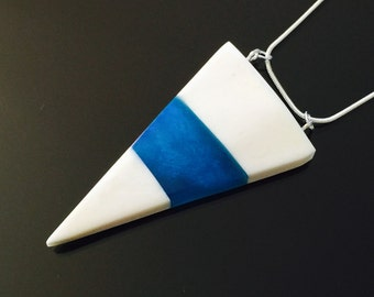 Blue Triangle Pendant, Bone and Resin Pendant, Natural Jewellery, Handmade Jewellery, Gift for Him, Unique Necklace