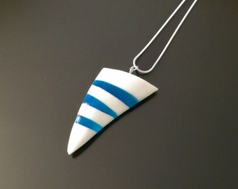 Blue Striped Triangle Pendant, Bone and Resin Pendant, Natural Jewellery, Handmade Jewellery, Gift for Him