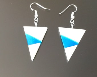 Azure Bone Triangle Earring, Handmade Jewellery, Natural Jewellery, Birthday Gift,  Gift for Her