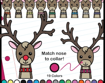 Color Matching: Reindeer and Noses ClipArt