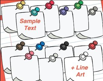 Thumbtack Notes Clip Art | Pushpin Note Clipart | Reminder Notes Clipart