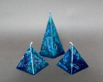 Pyramid candles, Turquoise Candles decorated with Silver or Gold Glitter
