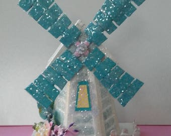 Handmade teal and silver/teal windmill putz