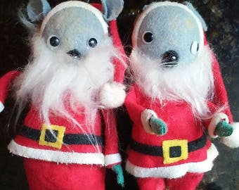 Vintage crazy-eyed Mice in Santa suits ornaments
