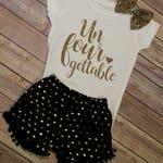 Unforgettable Shirt / Fourth Birthday Shirt / Four Birthday / Girls Birthday Shirt / Girls 4th Birthday Shirt / Fourth Birthday