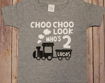 Birthday Shirt Choo Look Whos Two Second Train Kids Shirts