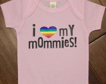 Two mommies, 2 mommies, gay baby, 2 moms, 2 mommy, two moms, lgbt baby shirt, gay pride baby shirt, gay pride baby, gay mommy