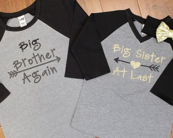 Big Sister Shirt, Big Brother Again, Big Sister At Last, Big Sister Shirts, Big sister shirt, Big Sister Big brother shirt set. Big Brother,