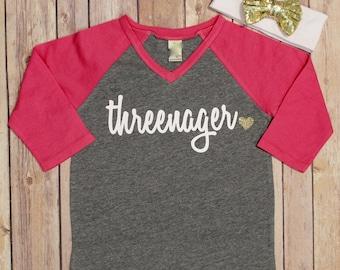 Threenager Shirt, Third Birthday Shirt, 3 Birthday Shirt, 3rd Birthday Shirt, Birthday Shirt, Girls Birthday Shirt, Raglan Birthday Shirt